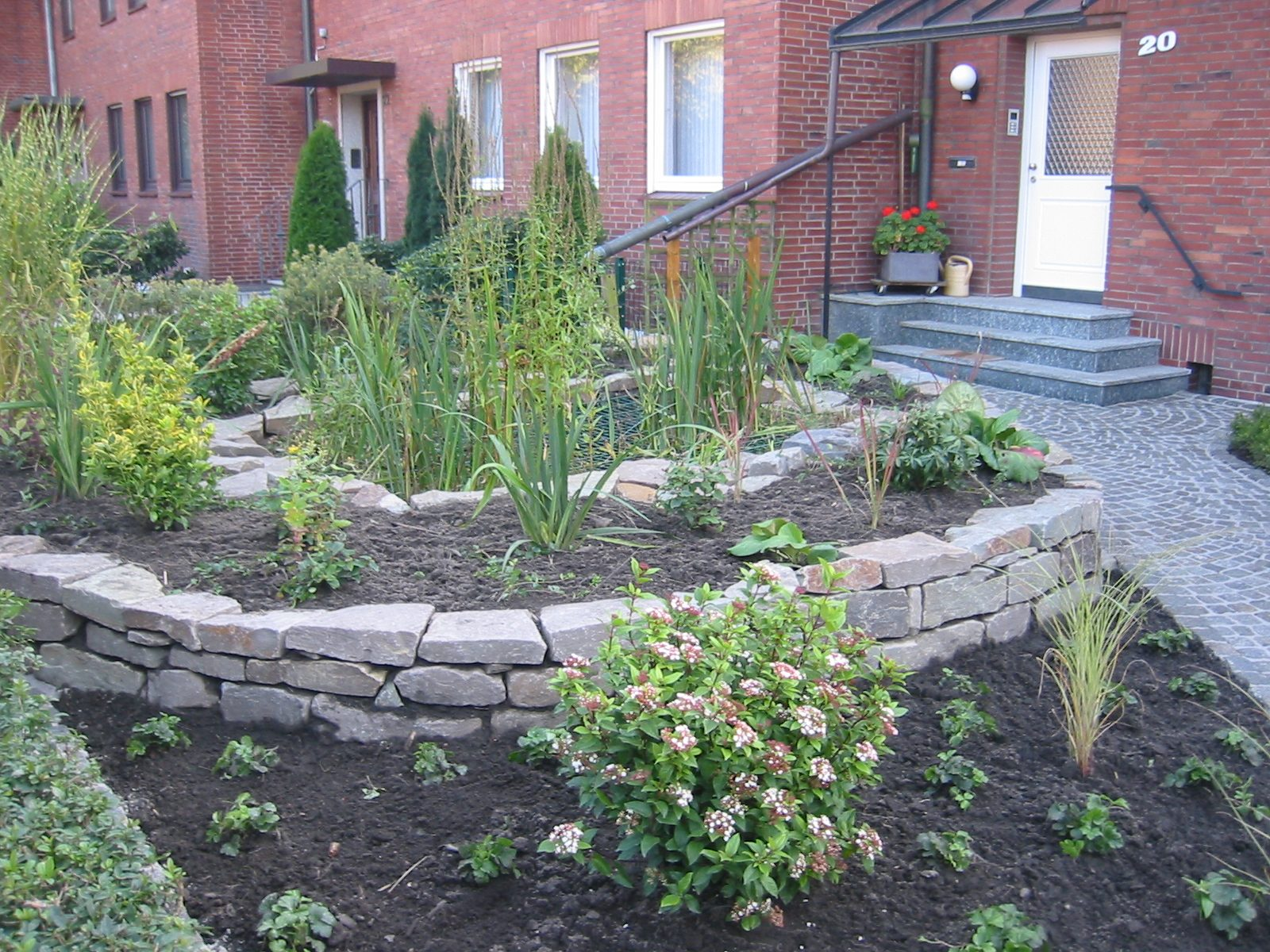 vorgarten mit trockenmauer garten und landschaftsbau. Black Bedroom Furniture Sets. Home Design Ideas